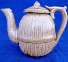 Antique Staffordshire Stoneware Child's Toy Tea Pot Ribbed Moulding circa 1870