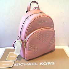 Michael Kors Medium Pink Leather Studded Backpack Abbey Jet Set MK
