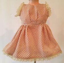 """Vintage Red & White Polka Dot Doll Dress 7"""" Long w/ Lace Trim"""