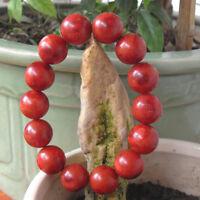 Vintage Tibetan Red Natural Sponge Coral Beaded Bracelet 15mm