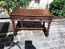 Ancienne Table Bureau en chêne Style Henry II - Louis XIII à colonnes torsadées