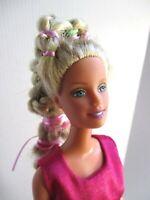 Barbie doll 1999 long  blonde hair straight limbs  pink dress & new high heels