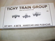 Handcar & Trailer, Push cart a 6 set  kit.  HO scale