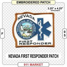 Nevada First Responder Patch EMS EMT Medic FR NV State Medical EFR Fire - F 05
