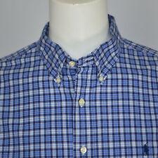 Mint RALPH LAUREN Classic Fit Plaid Cotton Casual Shirt Sz XXL Blue