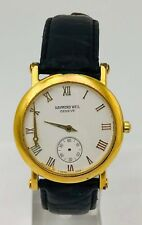 Rare Raymond Weil Geneve 9833 Roman Numeral Gold Tone Vintage 32mm Watch