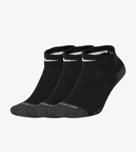 Nike No Show Socks Womens Medium Black Gray Ankle Dri-FIT SX7578