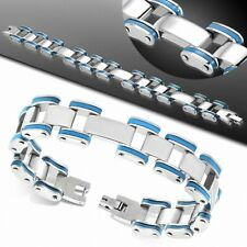 Bracelet Stainless Steel with Link in Rubber Blue Men