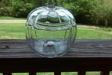 Vintage Anchor Hocking Glass Pumpkin Candy/Cookie Jar With Lid