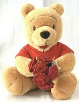 Winnie the Pooh Plush Doll Bouquet of Roses Flowers Disney Store