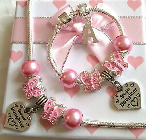 Girls pink sparkle butterfly charm bracelet necklace set Choose charm n gift box