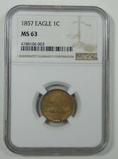 1857 Flying Eagle Cent CERTIFIED NGC MS 63 1c