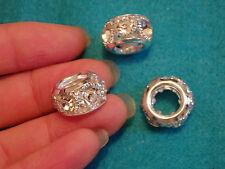 5 breloques perles gros trou strass strass cristal joaillerie artisanat