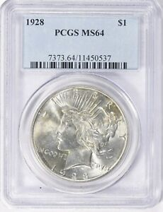 1928  Peace Dollar PCGS 64 FREE SHIPPING US ONLY
