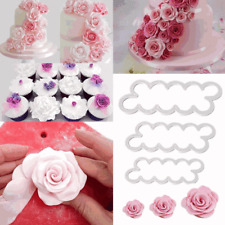 3x Rose Cake Flower Petal Cutter Fondant Icing Tool Sugarcraft Decorating Mould