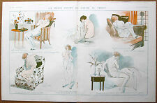 La Vie Parisienne prejelan 1918 vintage impresión triste desnuda extraña WW1 soldado amante