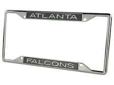 Atlanta Falcons Carbon Fiber LASER FRAME Chrome Metal License Plate Tag Cover