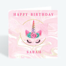 Personalised Unicorn Birthday Card Grand Daughter Niece Girl 5th 6th 7th 8th 9th