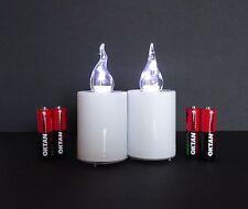 2 LED Elektro Grablicht Kerzen Weiss Grablampe Grabschmuck inkl. Batterien
