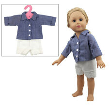 18inch Doll Clothes for American Girl Dolls Denim Shirt Coat White Wool Shorts