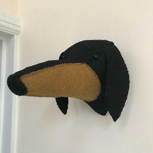 Dachshund Dog Wall Mounted Large Felt Head Decoration with Hanging Hook