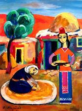 ORIGINAL FOLK ART PAINTING 2 Village Women Drying Wheat; RUSSIAN ARMENIAN Artist
