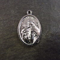 1 x Bright finish St. Anthony medal silver colour 2cm Christian pendant