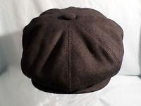 MENS BLACK 8-PANEL 1920'S/1930,S BAKER BOY HAT NEWSBOY AKA CABBY PAPERBOY CAP