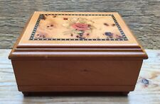 Lovely Vintage Style Wooden Jewellery Box/Light Wood/Storage/Inlaid Floral Look