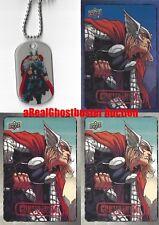Thor Dog Tag + 2 Base Cards & 1 Foil Card - Upper Deck Marvel Dossier