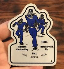Richland Contracting Barbourville Ky #1 Mine Rescue Team 1986 Coal Mine Sticker
