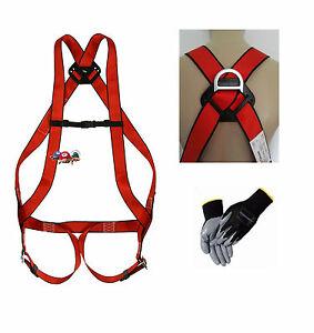 Auffanggurt + Handschuhe Absturzsicherung EN361 Ablassgurt Fallschutz Haltegurt