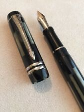 2002 PARKER DUOFOLD INTERNATIONAL BLACK MOSAIC PT MEDIUM NIB FOUNTAIN PEN-SUPERB