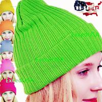 Women Men Hats Winter Warm Hat Knit Slouchy Beanie Plain Cap Ski Caps Skull Cuff