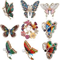 Wholesale Women Crystal Wreath Flower Butterfly Insects Brooch Pin Jewelry Gift