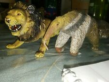 Vintage Aaa Giant Anteater and Lion Hard painted rubber animal figure toy