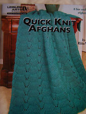 Quick Knit Afghans Book 8 Patterns NEW