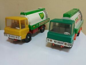 VINTAGE TRUCK MS-25 BP AND GAS OEL OILCISTERN TANKERS TIN METAL TOY GERMANY 70s