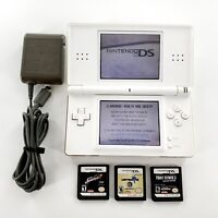 Nintendo DS Lite White Console Bundle Lot w/ 3 Games, Charger Tested & Works