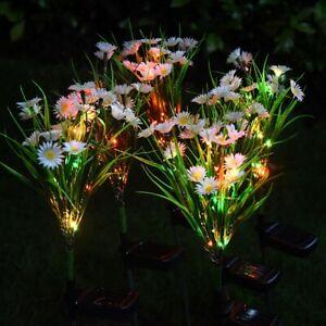 2 Garden Daisy Flower Shape LED Solar Powered Lights Outdoor Yard Standing Decor