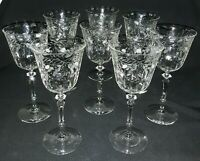 """8 Elegant * Cut Glass * Wine / Water Goblets ** 8"""" Tall ** EXCELLENT CONDITION"""