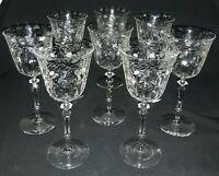 """Rock Sharpe Miranda 8 Elegant  Cut Glass  Wine / Water Goblets  8"""" Tall"""
