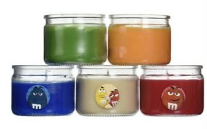 Set Of 5 M&Ms Scented Candles, Vanilla, Citrus, Pear, Berry,& Cinnamon 3oz