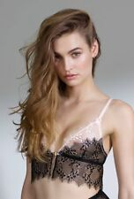 Mimi Holliday Wisteria front close bralet triangle lace black pink S AW15-152