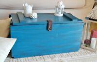 Cassapanca in legno massello Vintage militare Baule Cassa Tavolino salotto Blu