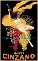 Asti Cinzano 1910 Muscat Grape Drink Vintage Poster Print Retro Style Wall Art
