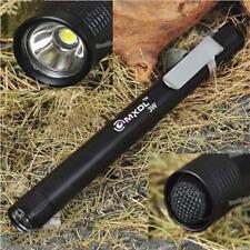 Black MXDL 3W LED Mini Penlight Flashlight AAA Torch Lamp Light W/ Belt Clip WT