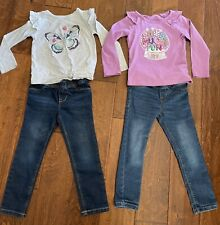 Carter's Girls Clothes Size 4T Lot Of 2 Sets. Jean Jeggings & Long Sleeved Tees