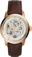 Fossil Townsman Automatic Skeleton Rose Gold Brown Leather Men's Watch ME3078 SD