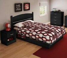 Black 4 Piece Full Platform Bed Set Home Living Bedroom Dorm Storage Dresser